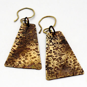 Bronze Textured Dangle Earrings, Rectangle Drop Earrings, Egyptian Inspired,  Antiqued Metal Finish