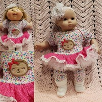 "Baby Doll Clothes to fit Bitty Baby ""Monkey Face"" (15 inch) doll outfit Will fit Bitty Baby® dress, pants, socks, headband floral D11"