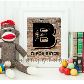 Boy's Room Decor. Personalized Initial. Rustic. 8x10. Instant Download.