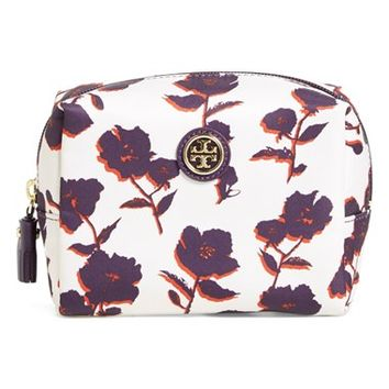Tory Burch 'Brigitte' Floral Print Cosmetics Case - Purple Iris