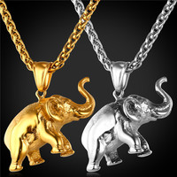 Elephant Charms Necklace  Jewelry Gift Stainless Steel/18K Real Gold Plated Chain Pendant Necklace Men/Women GP1815
