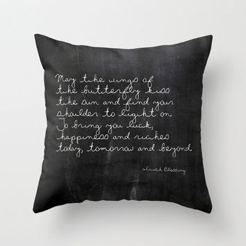 Velveteen Pillow - Butterfly - Irish Blessing - Butterfly Poem - Nature - Black Throw Pillow - Typography - Housewarming - Chalkboard Print