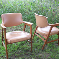 Gunlocke Chair/Mid-Century Chairs/Vintage Chair/Desk Chair/Chair Set/Matching Chairs/Brown Leather Chair