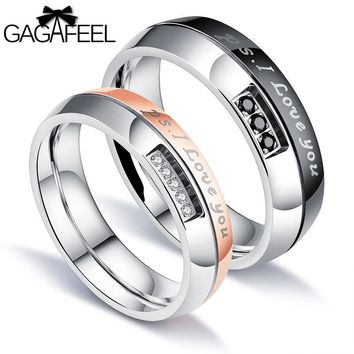 GAGAFEEL  Zircon Couple Rings 316L Titanium Steel For Men Women  Couple  Ring Romantic  Gift Arc  Type Smooth Customized Service