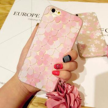 Best Protection Rhinestone Pink Floral iPhone 7 7 Plus & iPhone 6 6s Plus & iPhone 5s se Case Personal Tailor Cover + Gift Box-170928