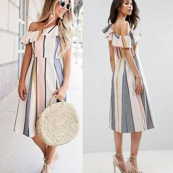 DCKL9 Summer dress sexy vertical stripes single leaf dress [10389932109]