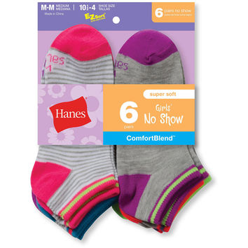 Hanes Girls Fashion ComfortBlend No-Show Socks 6-Pack
