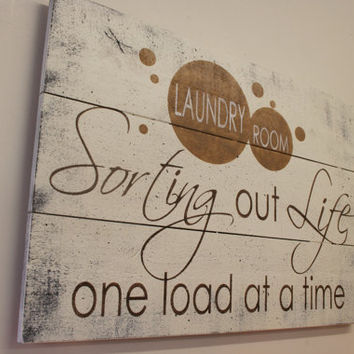 Laundry Room Sign Wood Pallet Sign Laundry Room Decor Shabby Chic Decor Vintage Wood Handpainted Sign Rustic Sign Wall Decor