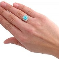3.21 ct Zircon and 0.69 ct Diamond, 18 ct White Gold Cluster Ring - Vintage Circa 1950