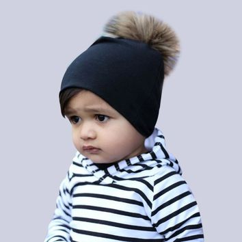 MAITRI 2017 New Kids Beanie Fashion Cotton Casual Solid Fur Ball Hat Boys Girls Elastic Cap