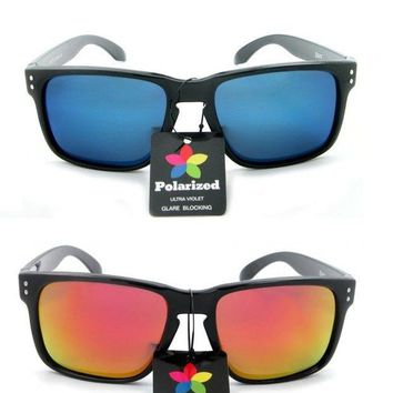 2 Pair Polarized Retro Brook Style Large Sport Flat Top Outdoor Sunglasses
