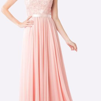 Sheer Neckline Floral Applique Sequin Evening Dress Blush