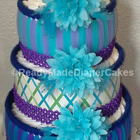 3 Tier Diaper Cake Aqua Lilac Turquoise Blue Mint Green Lavender Purple Themed Baby Girl Shower Decor Table Centerpiece Unique Baby Gift