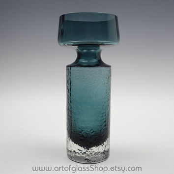 Riihimaki 'Safari' steel blue glass vase by Tamara Aladin