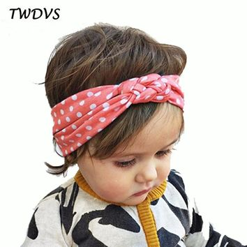 TWDVS Babe Hair Bands Printing Knot Hair Band Girls Elastic Cotton Headband Newborn Hair Accessories Kids Headwear Hairpins W146