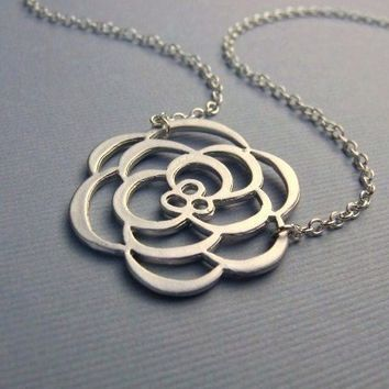 Delicate Silver Flower Necklace by pinkingedgedesigns on Etsy