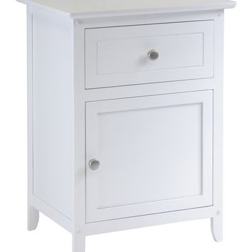 Carved Night White Stand Accent Table with Drawer