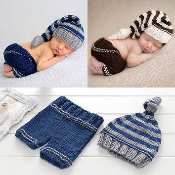 Newborn Baby Girl Boy Knit Crochet Clothes Photo Costume Photography Outfit