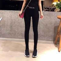 """""""Dior"""" Women Casual Fashion All-match Embroidery Letter Cotton Thickened Leggings Trousers Sweatpants"""