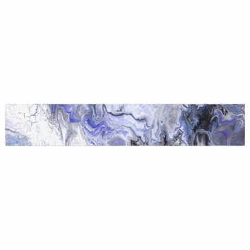 "Catherine Holcombe ""Purple Marble"" Purple Black Abstract Geological Painting Table Runner"