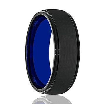 Tungsten Wedding Band - Mens Wedding Band - Black Tungsten Brushed Center Stepped Edge - Tungsten Wedding Ring - Man Tungsten Ring - 8mm