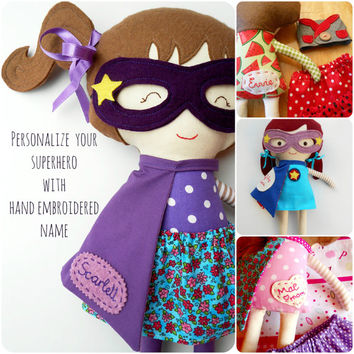 NAME TAG-Personalized superhero doll, custom name on doll with hand embroidered name tag, on the superhero cape or on doll clothing