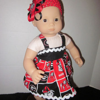 American Girl Bitty Baby Dress Created From Georgia Bulldog Fabric By Sweetpeas Bows & More