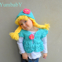 Pigtail Hat and Bolero Set- Cabbage Patch Doll Hat and Jacket Set- Aqua and pink-Easter Set