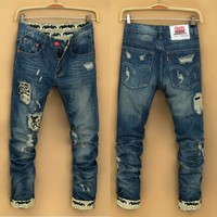 Winter Men's Fashion Korean Men Ripped Holes Pants Jeans [6528576515]