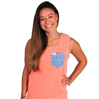 The Greek Key Unisex Tank Top in Neon Orange with Blue Pocket by the Frat Collection - FINAL SALE