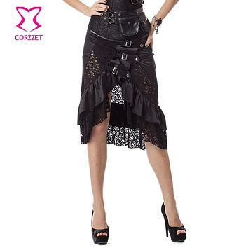 Steampunk Lace & Satin Ruffle Buckle Skirt