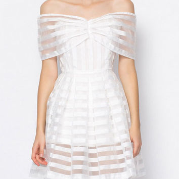 White Off The Shoulder Striped Organza Dress