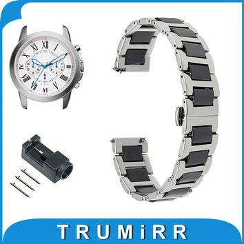 18mm 20mm 22mm Ceramic + Stainless Steel Watch Band for Fossil Butterfly Buckle Strap Quick Release Wrist Belt Bracelet + Tool