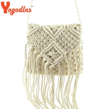 Yogodlns 2017 fashion Beach Bohemian Tassel Shoulder Bag bolsa feminina Women Crochet Fringed Messenger Bags Tassels Cross Bag