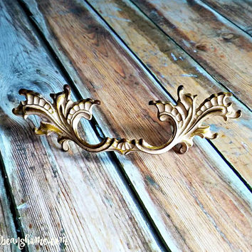 French Provincial Furniture Pulls Vintage Drawer Pulls Brass Drawer Pulls Cabinet Pulls Cream Gold Decorative Drawer Pulls Dresser Hardware
