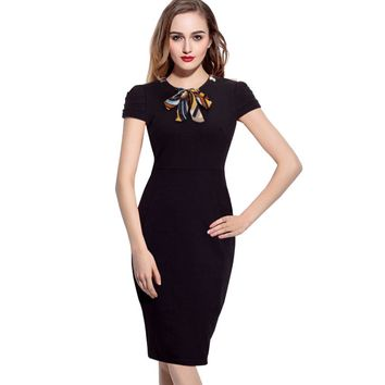 Women Dress Elegant Vintage Short Sleeve Office Work Business Casual Party Pencil Sheath Dresses