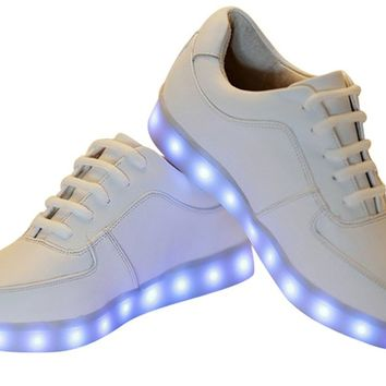 ODEMA USB Charging LED Sport Shoes Flashing Sneakers White 39
