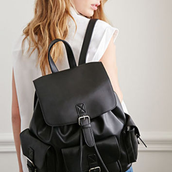 Faux Leather Buckled Backpack