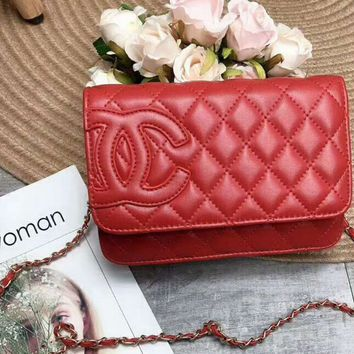 CHANEL 2018 new women's luxury light luxury chain bag F-AGG-CZDL Red