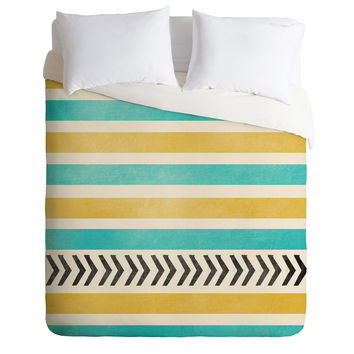 Allyson Johnson Green And Blue Stripes And Arrows Duvet Cover