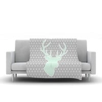 "Pellerina Design ""Winter Deer"" Gray Green Fleece Throw Blanket"