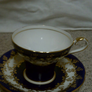 Aynsley Cobalt Blue, White and Gold Gilt teacup and saucer, English bone china teacup and saucer, Collectible teacup and saucer pattern #26