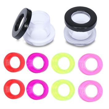 BodyJ4You 12PC Tunnels Screw Fit Plug Set 8G-12mm Acrylic Plastic 10 Colorful Rings Body Jewelry