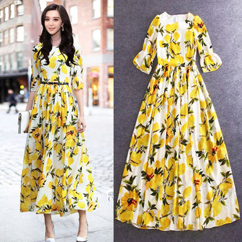 High Quality 2016 New Summer Red Carpet Runway Fashion Leisure Lemon Printing Horn Sleeve Two Colors Ladies Dress Maxi Dress