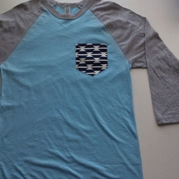 Light blue/ grey baseball raglan tee with aztec pocket