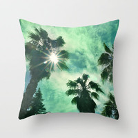 Vintage beach Throw Pillow by Guido Montañés