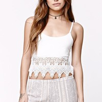 LA Hearts Crochet Trim Tie Back Tank - Womens Tees