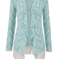 Sea Green Chevron Stripe Blanket Cardigan With Fringe - Sea Green Combo