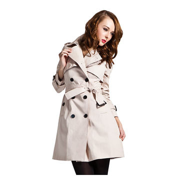 Women's Mid-length Trench Coat with Belt