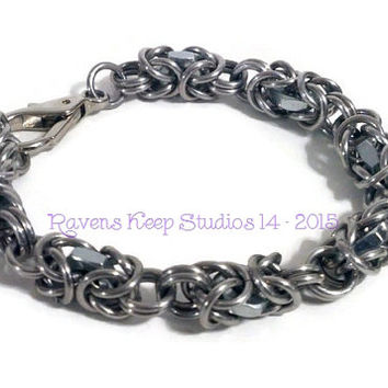 Industrial Byzantine Chainmaille Bracelet, Found Items, Hex Nuts, Mens Bracelet, Biker